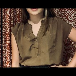 Light brown partial button down